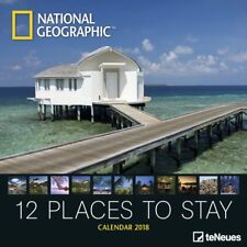 CALENDRIER 2018-NATIONAL GEGRAPHIC-12 PLACES TO STAY - 30 x 30 cm
