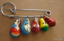 RUSSIAN  WOOD HAND PAINTED PIN- DOLLS  #11