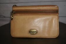 Women's Fossil Tan Wallet ID Holder Coin Purse Handbag Zipper Multi Pocket