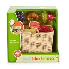 NEW Just Like Home PICNIC Basket Set Kids 20+ Piece Play Food Dishes Blanket NIB