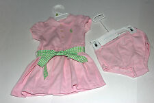 NWT Ralph Lauren BABY Girls Spring Summer 2pc Set Pink Polo Dress SZ 9 MO