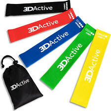 3DActive Exercise Resistance Loop Bands - Set of 5 Workout Bands
