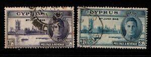 Cyprus 1946 Victory SG164-65 Used