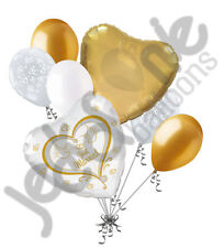 7 pc Just Married Gold & White Doves Balloon Decoration Party Married Wedding