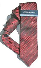 NEW Mens Tie Necktie Red Black White Geometric Stripe by John Ashford A76