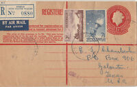 QE2 pre-printed embossed registered 1/7d official post office envelope uprated