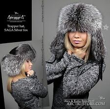 LUXURY Silver Fox Fur Hat for Women Chapka Renard Argente Fourrure pour Femme