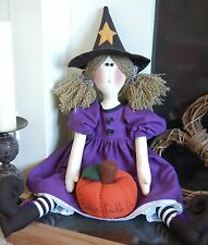 PRIMITIVE FOLK ART SEWING PATTERN 'MILLICENT WITCH' HALLOWEEN RAG DOLL & PUMPKIN
