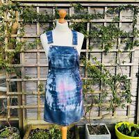 Vintage tie dye dungaree pinafore dress Chiori 90's festival sz 8 eu 36 grunge 3