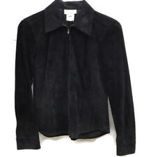 Jones NY Sport Petite Black Suede Zipper Shirt Jacket 2P
