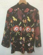 "Mans Black Shirt Floral XL 44 "" in Sequins Button Butler Wilson New Flower Party"