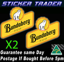 Bundaberg Rum Bundy Bear x2 Sticker Suit Shed Camping Trailer Bar Fridge BBQ