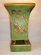 French Tole Hand Painted TOILE Planter Cache Pot Urn Jardiniere Chinoiserie Claw