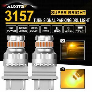 AUXITO 3157 3156 3057 Amber 23SMD LED Turn Signal Parking Light Bulb Error Free
