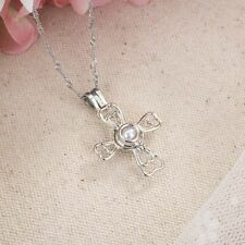 Hollow Jewelry Chain Women Necklace Silver Plated Cross Pendant Natural Pearl