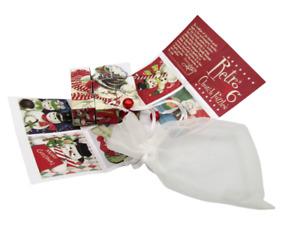 New Primitives By Kathy Retro Snowman Christmas Wooden Church Puzzle Blocks Bag
