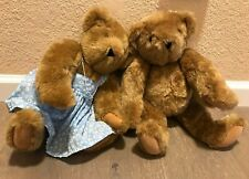Lot of 2 Vintage Authentic Vermont Teddy Bear Company Classic Jointed Brown!