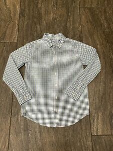 JANIE & JACK Boys Size 10 Blue Green Plaid Gingham Check Button Down Shirt