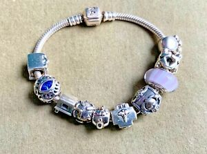 PANDORA STERLING SILVER BRACELET 10 CHARMS 925 WHEN CLOSED 6 INCHES LONG