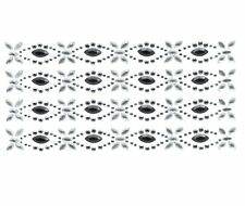 BLACK & CRYSTAL STRIP ACRYLIC  SELF ADHESIVE EMBELLISHMENT 4 PER SHEET BARGAIN