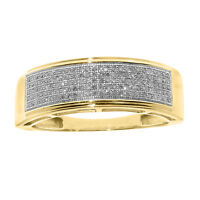 14k Yellow Gold Finish Mens Pave Round Diamond 7mm Wedding Band Ring 1/2 ct