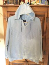 DENIM & CO Light Blue Full Zip Front Knitted Sweater Hoodie Size 1X
