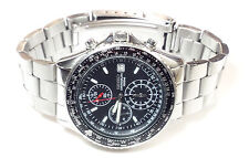 SEIKO MEN'S 44mm CHRONO, DATE BLACK DIAL, WATCH 100m WR 7T92-OCF0 USA S&H