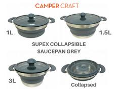 Set of Grey Supex Collapsible Saucepans