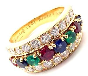 Authentic! Van Cleef & Arpels 18k Gold Emerald Diamond Sapphire Ruby Band Ring
