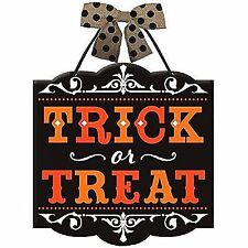 """Halloween Party Trick or Treat Hanging Sign Decoration, Board, 12"""" x 11"""" w"""