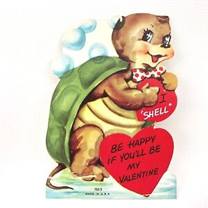 Vtg 1940s 1950s Turtle Tortoise Valentines Day Card Ephemera Made USA Bubbles