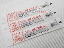 3 Refills for Pilot Hi-Tec-C 0.3mm Micro Fine Rollerball Gel Ink Pen, Red