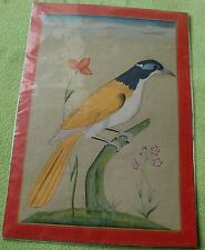 VINTAGE HANDMADE STONE COLOR BEAUTIFUL MINIATURE MUGHAL STYLE PAINTING OF BIRD