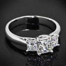 3 Three Stone 1.10 Carat Princess Cut Diamond Engagement Ring 14K White Gold