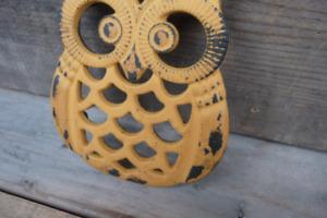 CHOOSE Color Cast Iron OWL Trivet Hot Pad ~ Aqua or Yellow or Lime Green Rustic