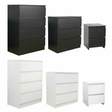 Modern Bedside Table Cabinet Chest of Drawers Nightstand 2/3/4 Drawers Black