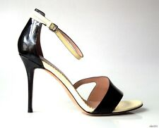 new $450 JEAN-MICHAEL CAZABAT Olympe black/cream ankle strap heels shoes 40 10