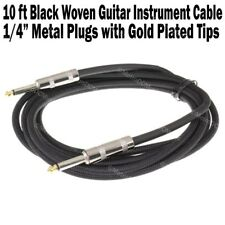 "10 ft Black Woven Guitar Instrument Cable Cord Effect Patch Gold Tip 1/4"" Plugs"