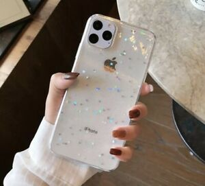 Shiny Bling Glitter Stars or Hearts With Soft Transparent Case For IPhones