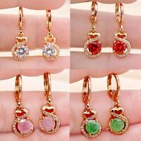 4 Color Swirl heart Round Gemstone 18K Gold Filled Dangle Hoop Women Earrings BR