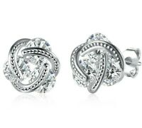 2.00 CT Round-Cut Triple Stud Stud Earrings 14K White Gold Plated ITALY MADE