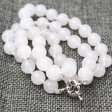 10mm Real Natural White Jade Round Beads Necklace18'' AAA