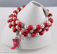 Red, Orange, Yellow Beaded Bracelets - Handmade - Swarovski Crystal, Gemstone