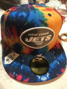 New York Jets NFL Crucial Catch Tie-Dye On Field 59FIFTY Fitted Hat Cap Cancer