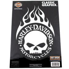 Harley Davidson Motorcycle Flame Skull cromo emblema ADHESIVO DECAL sticker grande