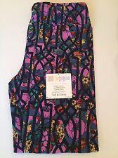New LulaRoe Leggings Size TC - Purple Floral Black Pattern Overlay - Unicorn 🦄