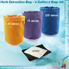 5 Gallon 3 Bags Kit Hydroponics Ice Bag Filter Bags Herb Extraction Air Bag