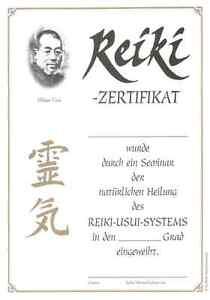 10 individuelle Reiki Zertifikate / Urkunden, für alle Grade geeignet