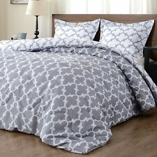 downluxe Lightweight Printed Comforter Set (King,Grey) with 2 Pillow Shams -