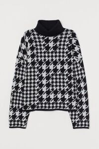 H&M Bloggers Black/White Dogtooth Houndstooth Pattern Knit Top Sweater Jumper, M